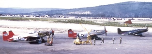 Two F-82Hs and one F-82G on the ramp at Ladd AFB, late summer 1952