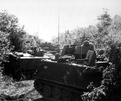 ACAVs of the 3rd Squadron 11th Armored Cavalry assume a herringbone formation during Operation Cedar Falls. This formation gave vehicles optimal all-round firepower in the event of an ambush in a restricted area.