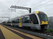 An electric train of Auckland's metro rail system.