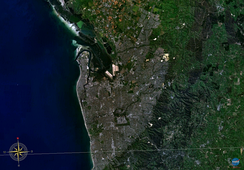 Satellite image of Adelaide's metropolitan area. The Adelaide Hills is the green area to the right of the image.