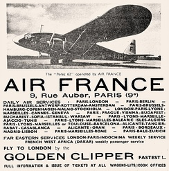 1936 Air France ad for service using Potez 62 twin-engine aircraft.