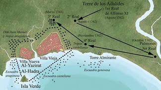Location of King Alfonso XI during the siege, and of his troops