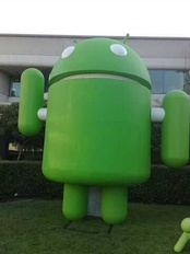 A giant Android mascot at Googleplex in 2008