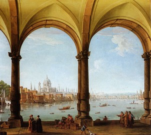 St Paul's viewed from a loggia, a capriccio (c. 1748) by Antonio Joli  who also worked in Venice.