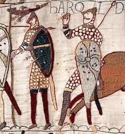 Likely depiction of Harold's death from the Bayeux Tapestry