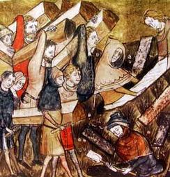 Чёрная смерть. «Хроники Жиля Ли Муисиса» (1272—1352), настоятеля монастыря Святого Мартина Праведного. Королевская библиотека Бельгии, MS 13076-77, f. 24v.