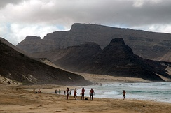 The beach of Calhau, with Monte Verde in the background, on the island of São Vicente