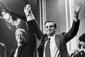 Mondale and former President Jimmy Carter celebrate at 1976 Democratic National Convention in New York, NY.
