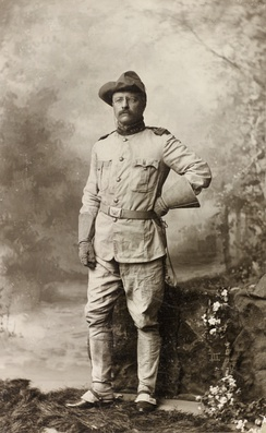 Colonel Theodore Roosevelt in his Rough Riders uniform on October 26, 1898, by Rockwood.