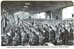 Prisoners picking oakum at Coldbath Fields Prison in London, circa 1864.