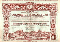 Bond of the French colony Madagascar, issued 7. May 1897