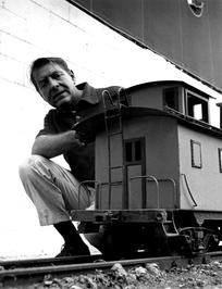 Rose with one of his miniature trains in 1959