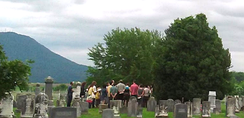 "Singing Davisson's ""Retirement"" at his graveside in Cross Keys, following an all-day singing from the Shenandoah Harmony (June 7, 2015)."