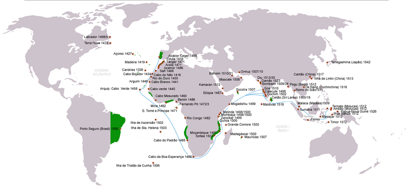 Portuguese discoveries 1415–1543; in green = in the Reign of D. João III