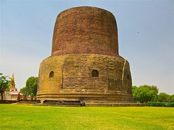 A Buddhist Stupa (above) may have influenced the later iconography of the Hindu Shiva-linga, according to Swami Vivekananda.[25][note 2]