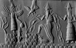 A cylinder seal depicting the gods Ishtar, Shamash, Enki, and Isimud, who is shown with two faces (circa 2300 BC)