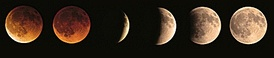 The progression of a lunar eclipse from right to left. Totality is shown with the first two images. These required a longer exposure time to make the details visible.