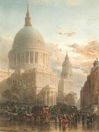 Romantic 19th-century engraving of St Paul's in the evening after rain by Edward Angelo Goodall