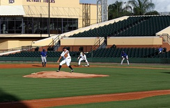 Jake Thompson pitches for the GCL Tigers against the GCL Blue Jays in 2012