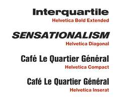 A number of unusual adaptations of Helvetica have been released that diverge from Miedinger's original design, notably the Bold Extended weight in which the 'r' has a droop, the extra-slanted Diagonal weight, Helvetica Compact with a different 'Q' and straight-sided capitals and the extra-condensed, high x-height Inserat.