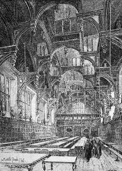 The Hall, Middle Temple, London; damaged and rebuilt after World War II