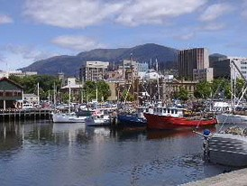 View of the Hobart downtown district and Mount Wellington from Constitution Dock