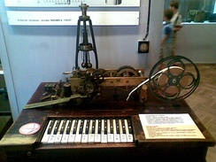 The Hughes telegraph, was the first telegraph printing text on a paper tape; this one was manufactured by Siemens and Halske, Germany (Warsaw Muzeum Techniki)