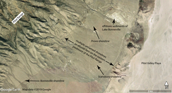 Google Earth image of Lake Bonneville shorelines on the eastern piedmont slopes of the Pilot Range in eastern Nevada and western Utah [Map data ©2019 Google]. Arrows and labels added by C.G. Oviatt, 2019.