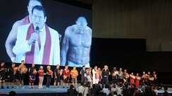 Inoki delivering a speech in North Korea, 2014. Inoki's regular visits to the country have strained his relations with the Japanese Diet