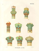 Illustration of various types of capitals, drawn by the egyptologist Karl Richard Lepsius