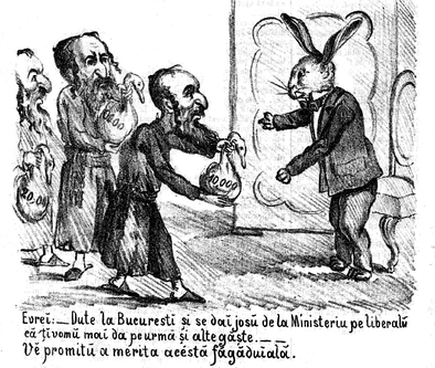 "November 1867 cartoon in Ghimpele, the ""Red"" magazine: the ""White"" party, represented by a rabbit-faced Manolache Costache Epureanu, taking Jewish bribes to ""bring down the liberal Ministry"""