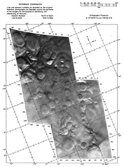 This shows two of the frames from the Mariner 4 flyby projected over a grid