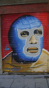 A wrestling mask mural in Madrid, Spain.