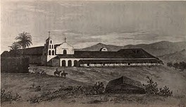 Mission San Diego de Alcalá drawn as it was in 1848. Established in 1769, it was the first of the California Missions.