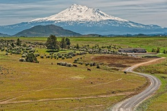 A rural landscape near Mount Shasta in California