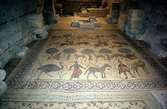 Mosaic floor from the church on Mount Nebo (baptistery, 530)