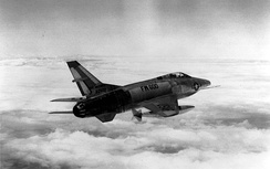 An RF-100A in flight, inexplicably marked with the AF serial number of a Northrop F-89 Scorpion (53-2600)