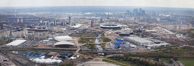Aerial view of the Olympic Park in April 2012
