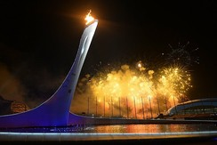 Fireworks over Fisht Olympic Stadium following the lighting of the Olympic Cauldron.