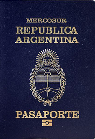 An Argentine passport with the name of Mercosur at the top