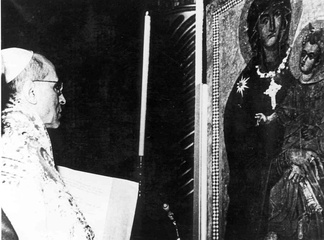 The coronation of the Salus Populi Romani icon by Pope Pius XII in 1954