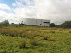 Derby Arena, under construction, viewed from within The Sanctuary Local Nature Reserve, October 2013