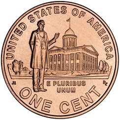 Reverse of 2009 Lincoln Penny, depicting him at what is now known as the Old State Capitol.