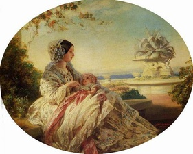 Queen Victoria in 1850 or 1851 with her third son and seventh child, Prince Arthur. In the 19th century, baby boys often wore white and pink. Pink was seen as a masculine color, while girls often wore white and blue.
