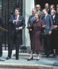 British Prime Minister Margaret Thatcher (here with Reagan outside 10 Downing Street in June 1982, as the Falklands War drew to a close) granted the U.S. use of British airbases to launch the Libya attack