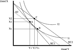 Substitution effect and income effect with a taxation on y good.