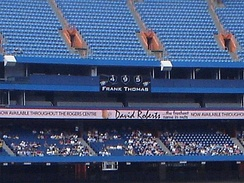 Banner at Rogers Centre displaying Thomas' home run count
