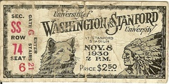 1930 football ticket stub depicting the Stanford Indian mascot