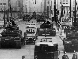 US Army tanks face off against Soviet armor at Checkpoint Charlie, Berlin, October 1961.