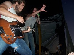 Guitarist Timothy McTague and vocalist Spencer Chamberlain performing at 2006's Warped Tour in San Diego, California.